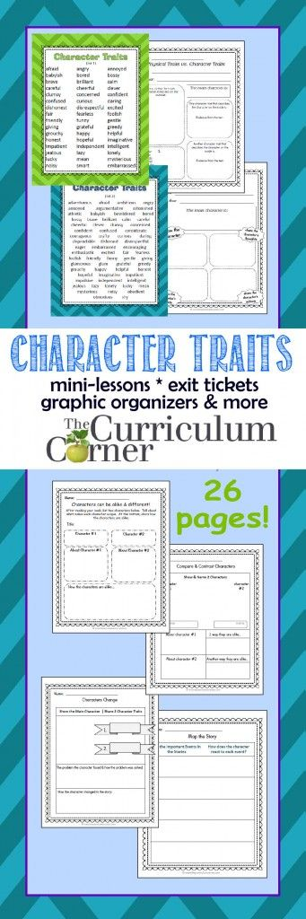 Character Traits Mini-lessons, Graphic Organizers, Exit Tickets FREE from The Curriculum Corner | 4th grade, 5th grade, 6th grade