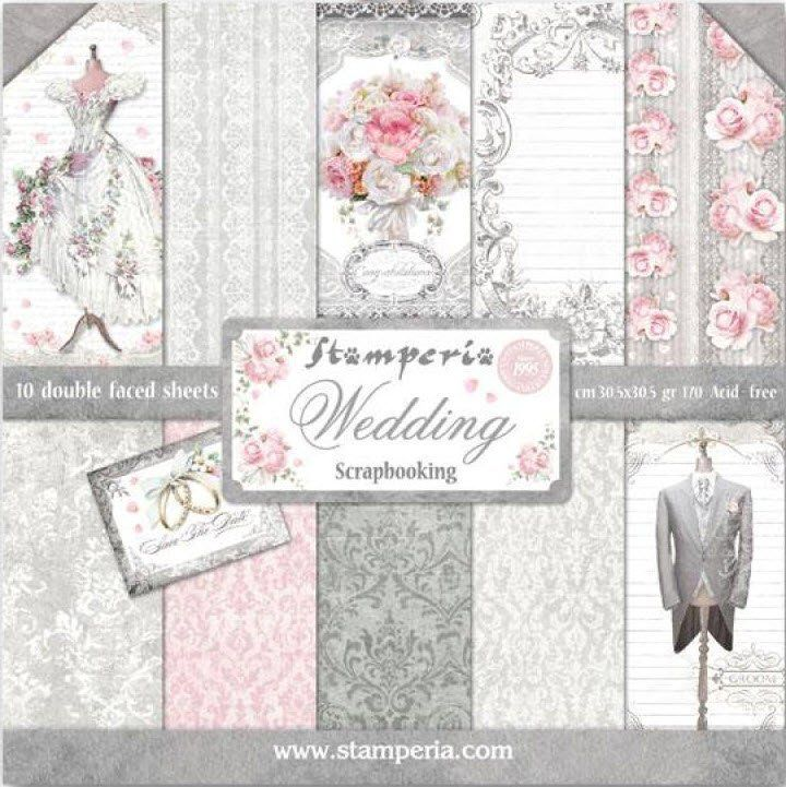 Stamperia 12x12 Paper Pack Wedding 10 Pack Bridal Shower Scrapbook Birthday Scrapbook Scrapbook Paper
