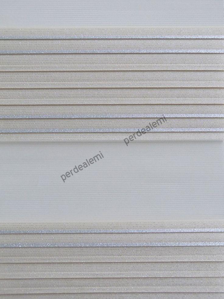 Plise Zebra Perde-Simli-Krem Renk-3019
