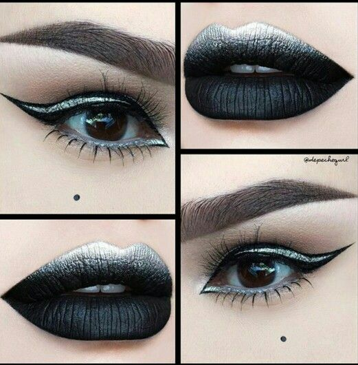 Black And Silver Eyes With Black And Silver Ombre Lips