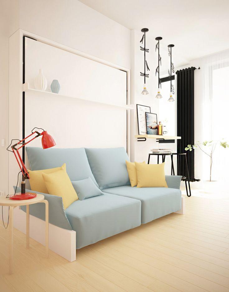 Проект однокомнатной квартиры в хрущевке с использованием трансформируемой мебели CLEI. Дизайнер Матвеева Екатерина