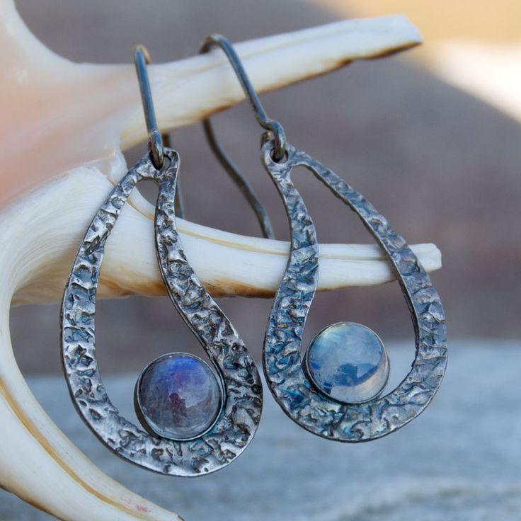 silver earrings A194,Silver earrings with moonstone,romantic earrings,gift,stud earrings,handmade,silver sticks, moonstone,gemstone, for her by Artseko on Etsy