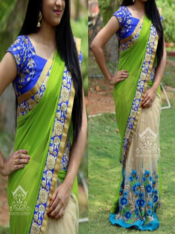 Sightly Green Net Designer Saree with Blue Color Blouse. It Contained the work of Multi with Lace Border. The Blouse can be customized up to bust size 44