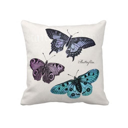 Vintage Teal Blue Purple Pink Butterfly Drawing Pillows
