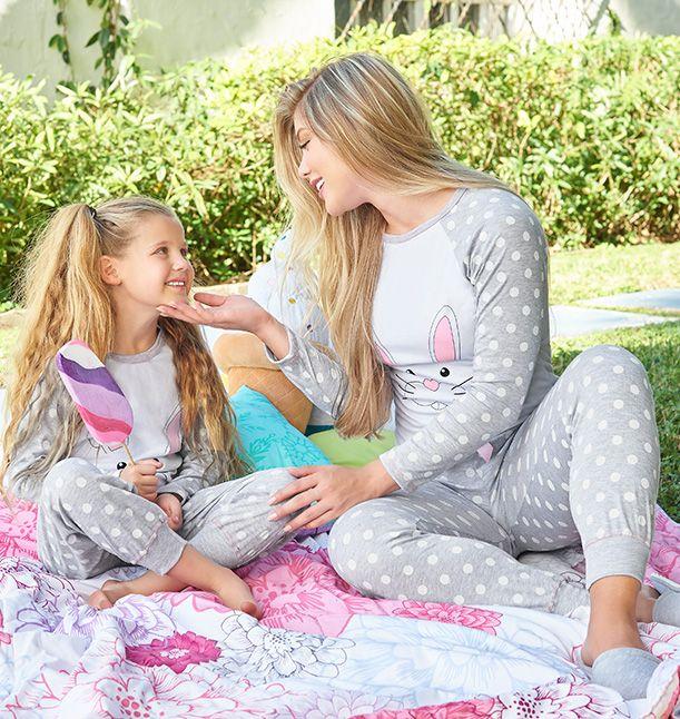 Pijama Manga larga / Pantalón Jaspe - Rosa Dama S-M-L-XL Niña 2-4-6-8-10-12-14-16 Poliéster/Algodón