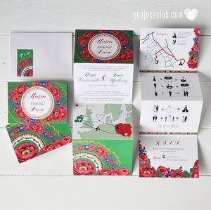 Papeteria ślubna w stylu FOLK z ludowymi motywami kwiatów z chust góralskich - Projekt Ślub https://projektslub.com/zaproszenia-slubne-ludowe#/chusta-goralska/
