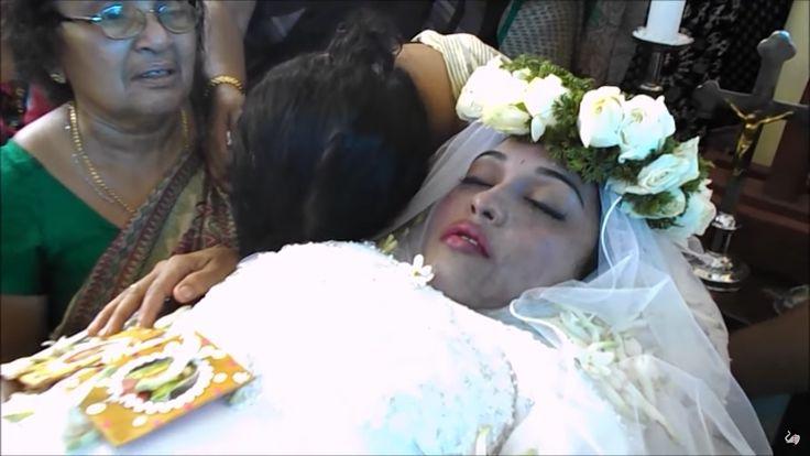 Shan Johnson in her open casket.