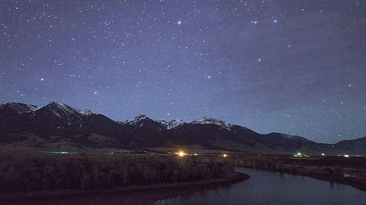 "gornergrat: "" Montana's night sky rising over Paradise Valley Yellowstone River, Montana """