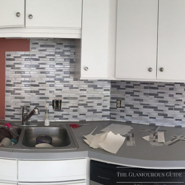 DIY Kitchen Backsplash with Sticky Tiles