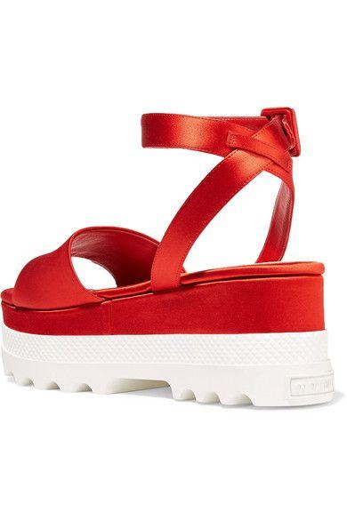 Miu Miu - Satin Platform Sandals - Red - IT40