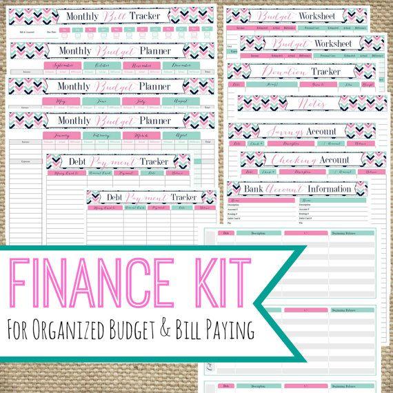 PRINTABLE FINANCE KIT, Instant Download pdf, Bill Pay Organizing, Cash Envelope, Budget Planner, Home Management Printables, Money Printable