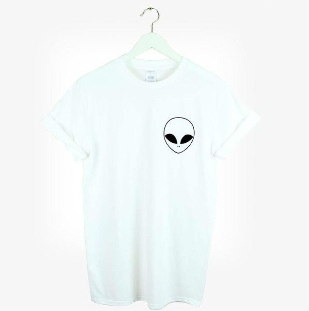 New Women Tshirt Alien Pocket Print Cotton Funny Casual Hipster Shirt For Lady White Black Top Tees Hipster TZ203-952