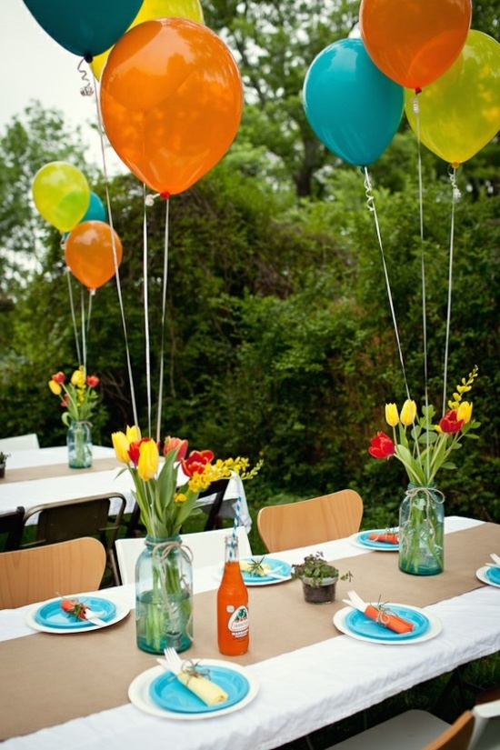 Balloons With Centerpieces for Outdoor Party