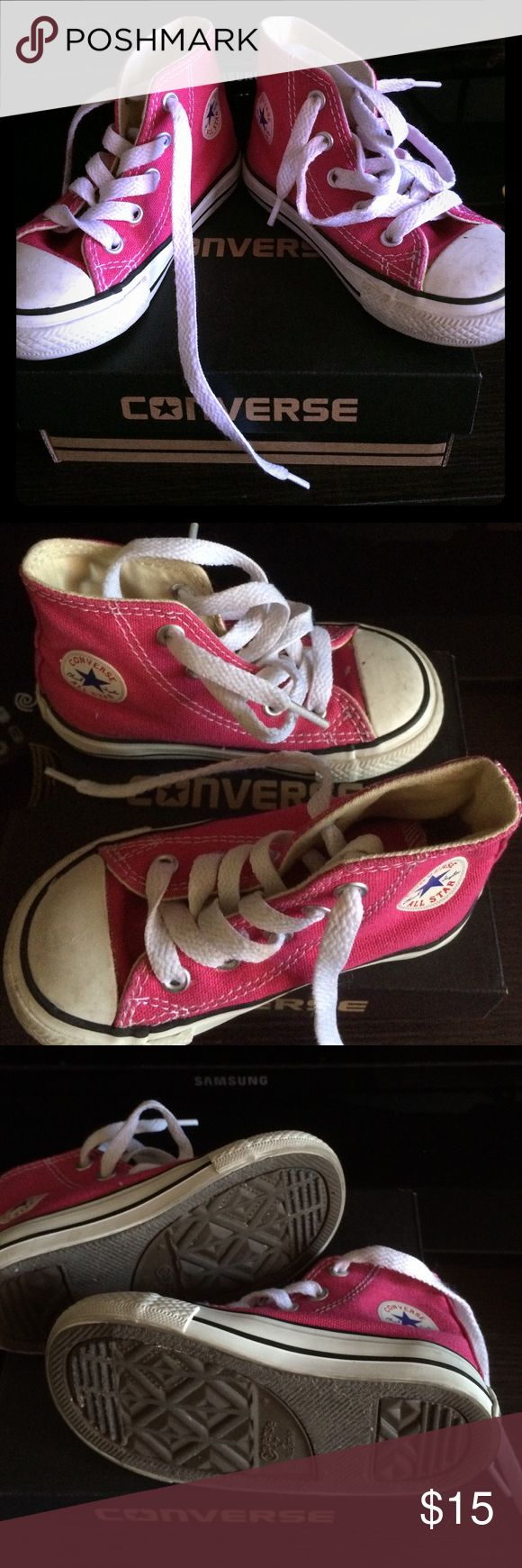 Used Converse for kids size 6 in hot pink Used Converse for kids size 6 toddler in hot pink Converse Shoes Sneakers
