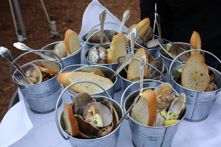 appetizers served in mini buckets.