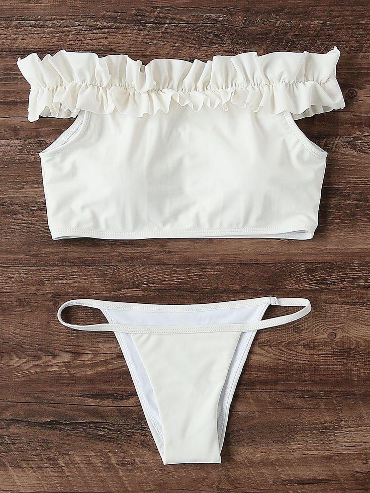 Shop Frill Detail Bardot Bikini Set online. SheIn offers Frill Detail Bardot Bikini Set & more to fit your fashionable needs.