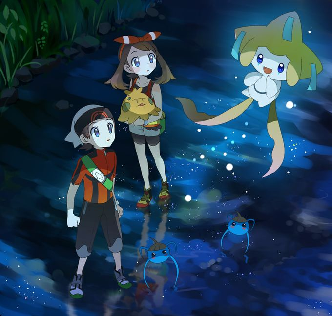 May, Brendan, Surskit, Jirachi, and Shroomish
