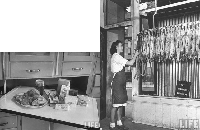 """Left: """"A typical middle class English family's food rations for a week sitting on the worktop of the kitchen cabinet."""" 1945. Source: Google/LIFE Photo Archive. Photograph by Bob Landry. Right: """"Young girl butcher in town of Plymouth, hanging up rabbits which have just come in from the market, more people in Britain are eating rabbit to supplement their limited meat ration."""" Plymouth, England. 1941. Source: Google/LIFE Photo Archive. Photograph by David E. Scherman"""