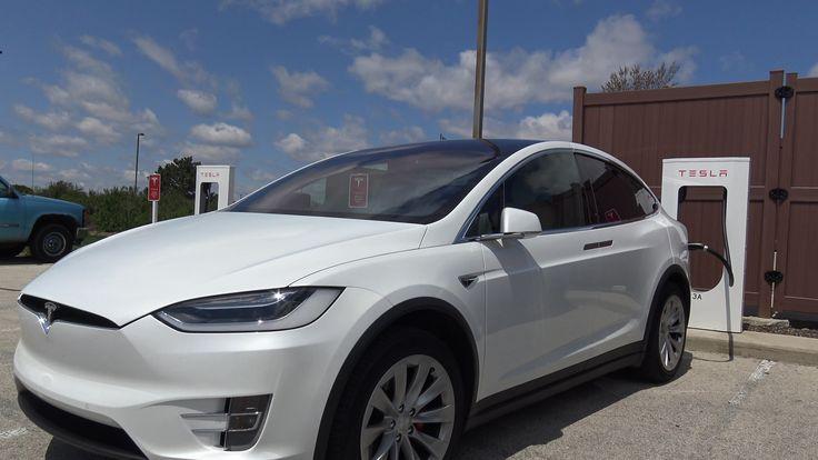 Tesla Motors Model X at Pleasant Prairie Supercharger Close Up & Battery