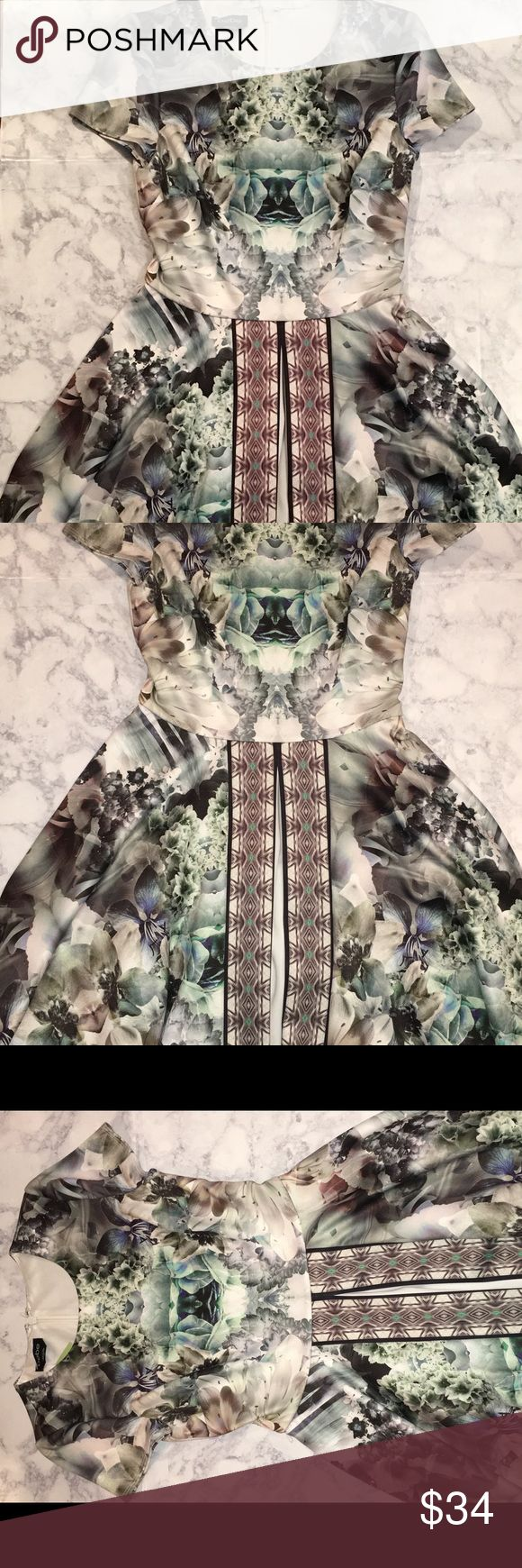 Weekend Sale 🎉 bebe Floral Dress bebe Floral Dress - Short Sleeve A Line Dress                                                         Size: Small / Colors: White, Green, Grey Floral Print                     Shell & Lining : Polyester, Spandex — Back Zipper               Gently used, in mint condition                                    *Cute dress to wear to a wedding or cocktail party! bebe Dresses