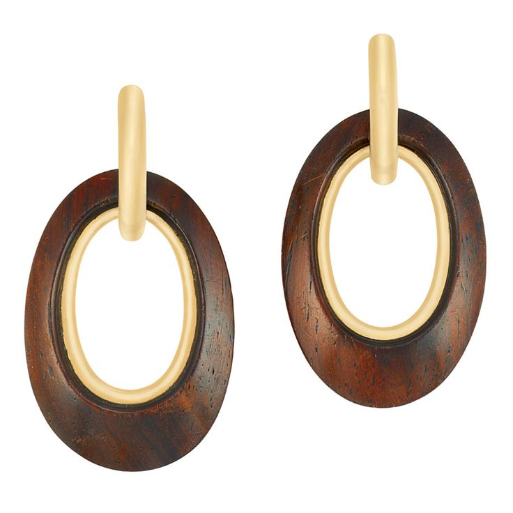 Pair of Gold and Wood Hoop Pendant-Earclips, Van Cleef & Arpels