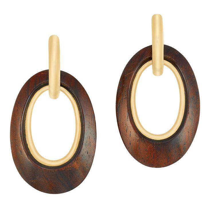 Pair of Gold and Wood Hoop Pendant-Earclips, Van Cleef & Arpels
