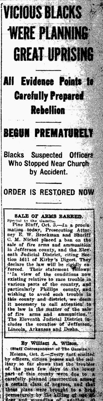 Elaine, Arkansas Race Massacre of 1919: Hundreds of Blacks killed by whites
