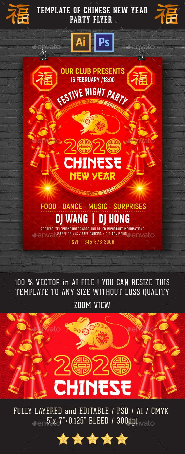 Template For Chinese New Year Party Flyer Or Invitation  Chinese