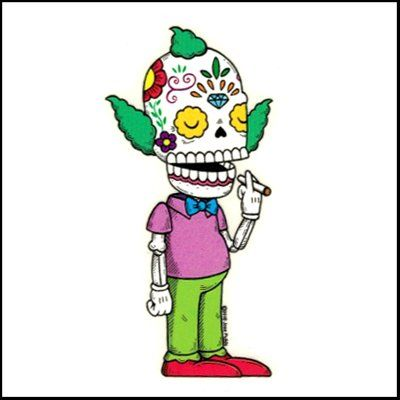 Krusty clown simpsons calavera die cut clear vinyl sticker sugar skull day of the dead