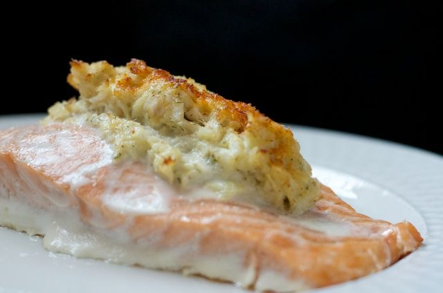 Crab-Stuffed Salmon Recipe Main Dishes with salmon fillets, crab meat, mayonnaise, white onion, garlic, dill weed, paprika