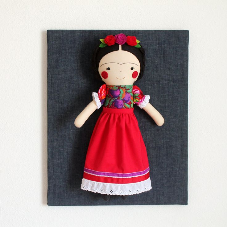 Frida Kahlo handmade doll. Rag doll to decorate and collect. Frida Kahlo art doll. Collectible art doll. Nursery decor. Gift idea for girls.