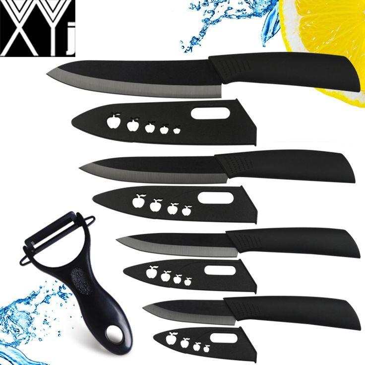 XYJ cuchillo de cerámica conjunto 3, 4, 5, 6 pulgadas cuchillo colorido ABS manejar cuchillos de cocina con zirconia vaina cuchillos de cocina + peleer