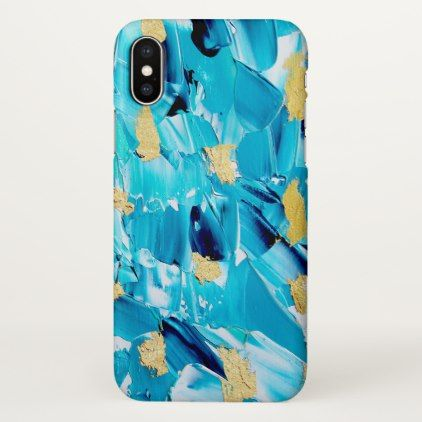 Modern turquoise gold glitter acrylic brushstrokes iPhone x case - girly gifts special unique gift idea custom