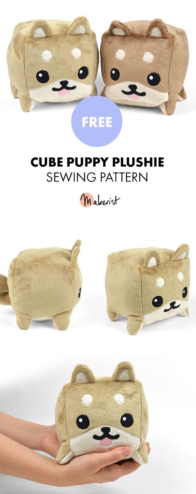 Cube Puppy Plushie Toy - Free Sewing Patterns via Makerist.com