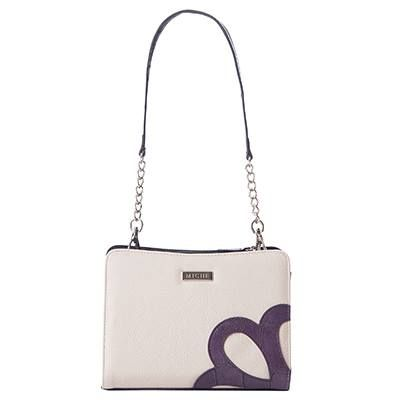 Jayden Do you believe in love at first sight? You will when you meet the Jayden for Mini Bags. Pebble-textured faux leather in delicate cream features a charming dusty purple scallop detail on the front that will melt your heart. The finishing touch? Purple croc on the very bottom - making her a true delight from every angle.