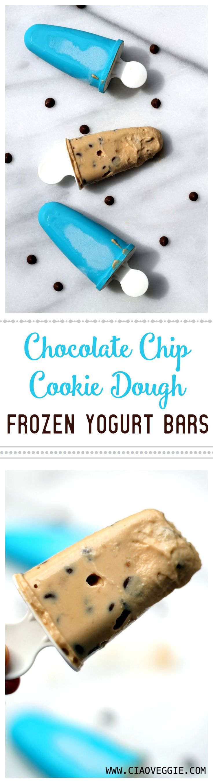Naughty but worth it! These cookie dough frozen yogurt bars are easy to put together from a one-bowl mix which goes straight into the popsicle molds. You will love them!