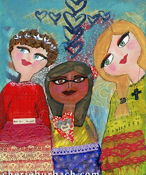 """Dear Friends""... a mixed media painting by Cherie Burbach."