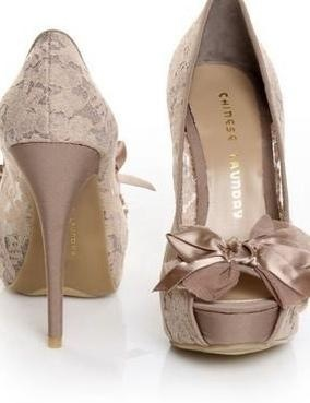Lace peep toe pumps with silk bow