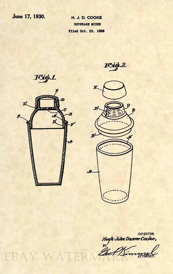 Official Art Deco Cocktail Shaker US Patent Art Print Antique Vintage Mixer 292   eBay #patentartprints