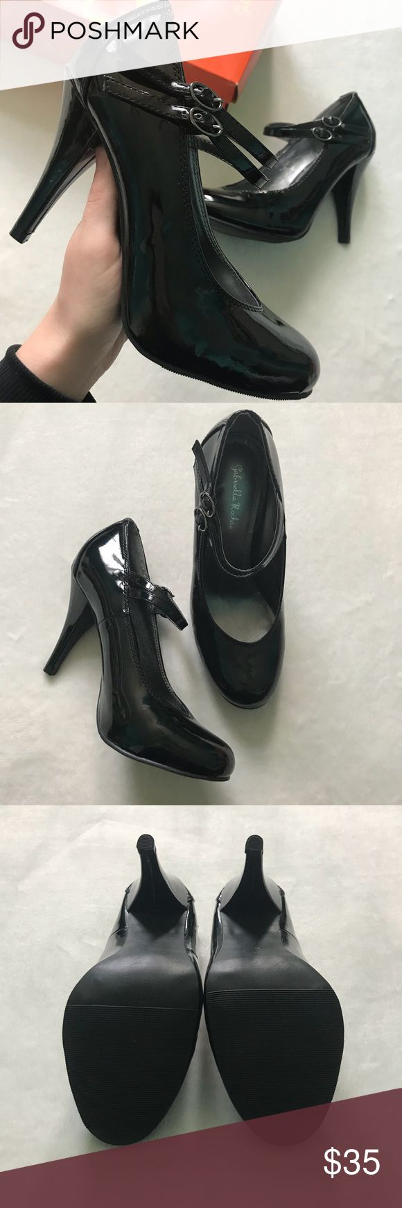 NEW Gabriella Rocha Black Sutton Heels These heels are a shiny black, with double buckle straps across the front.  A comfy and quality heel!  • Brand New WITH Original Box • Closed Toe • Size: 8  • Color: Black Patent Shoes Heels