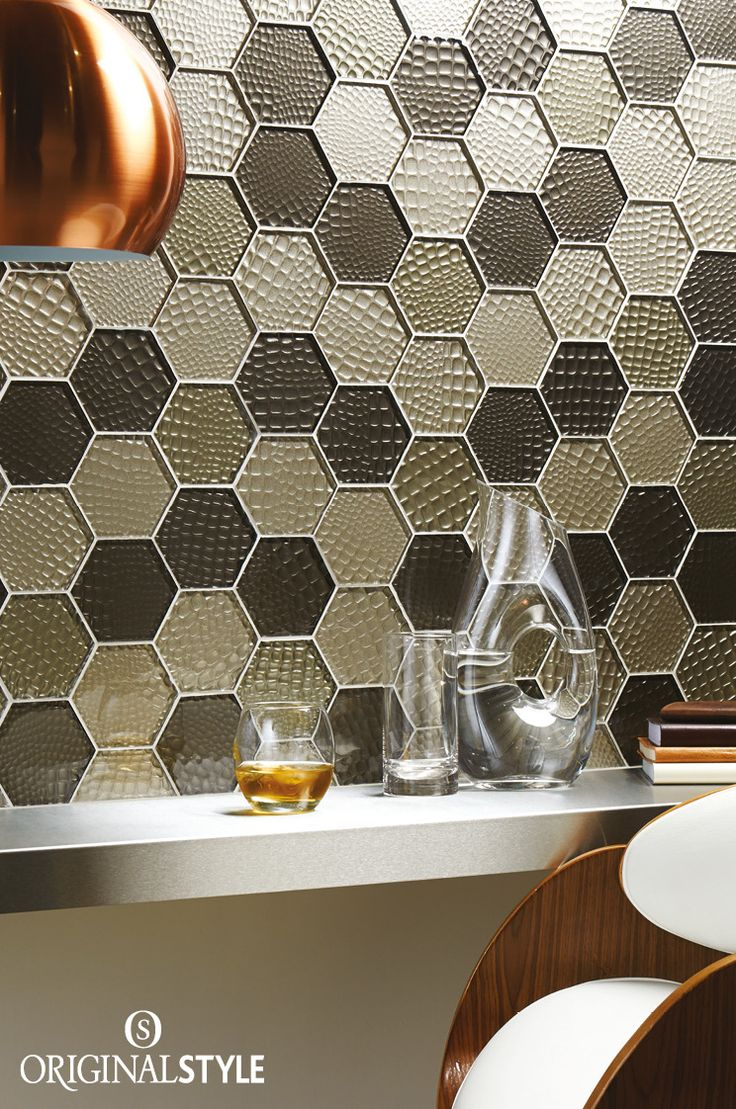 Futura Sepia Textured Hexagon Mosaic by Original Style