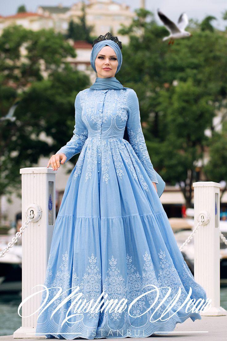 PURE COTTON EMBROIDERY DRESS MIST BLUE