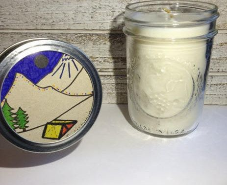 Essential Oil Soy Wax Candle. 8 ounce mason jar decoration. Home Decor for Her. Birthday Gift for Him. Camping Candle. Birthday Gift Idea.