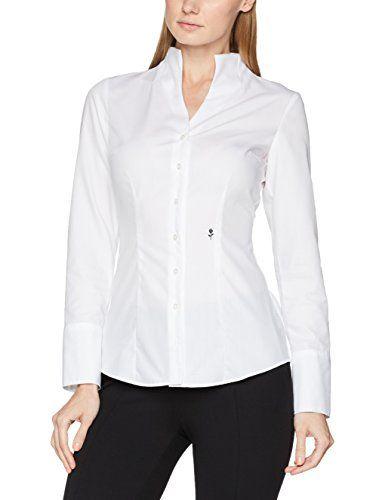 Seidensticker Damen Bluse Kelchkragenbluse Langarm slim fit Uni Bügelfrei  Weiß (Weiß 01) 40. Mit extrabreiten nach vorne hin geöffneten Mans…    PINSHOP 230a4161b2