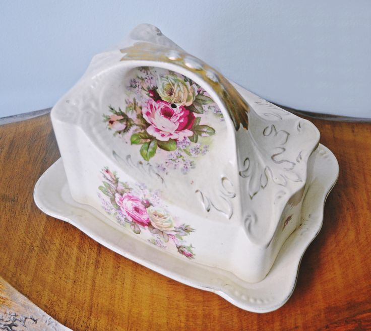Antique Cheese Keeper, Ironstone, Rose Design, Cheese Holder