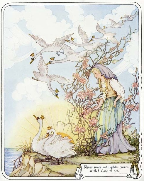 The Wild Swans -- Vintage Print -- Fairytale Illustration