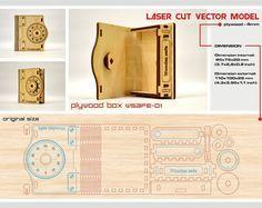 Corte del laser Modelo de vectores. Descarga inmediata. Caja pequeña de madera. Caso de seguro de madera. Caja de madera. Caja de madera. Caja de madera. WSafe-01