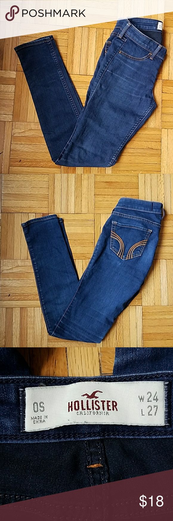 Last chance! Hollister Ultimate Stretch Jeggings Hollister Ultimate Stretch Jeggings  -very comfy and good stretch Jeggings from Hollister -worn twice -lightly distressed wash (distress at knees and on 2 back pockets -waist=24 Hollister Jeans