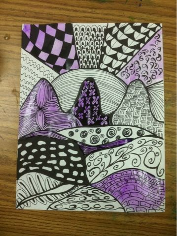 Zentangle a landscape drawing using fine and ultra fine sharpie markers.