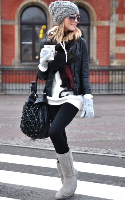 Perfect outfit for a cold day! Cozy boots, hat, mittens, and a big oversized sweater. Adding a leather jacket and bag give the outfit a more put-together look while still looking relaxed and casual. Super cute for grabbing coffee with a friend! #uggs #boots